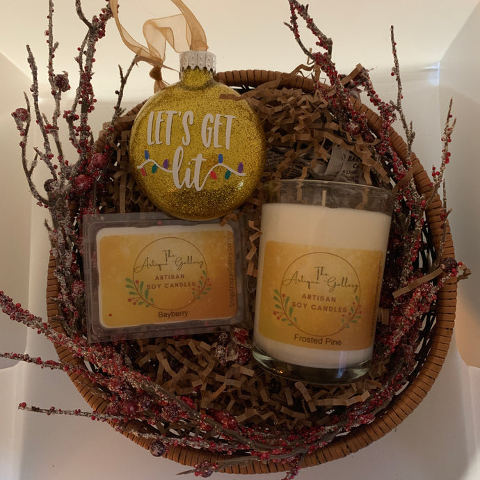 "Gift Basket featuring Frosted Pine Soy Candle, Bayberry Melts and ""Let's Get Lit"" Handcrafted Ornament"
