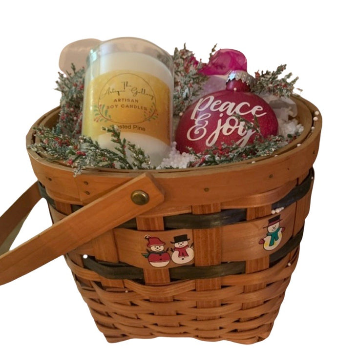 Gift Basket featuring Frosted Pine Soy Candle w/Peace & Joy Hand-decorated Ornament