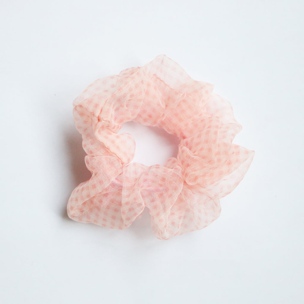 Gingham Organza Scrunchie in Blush
