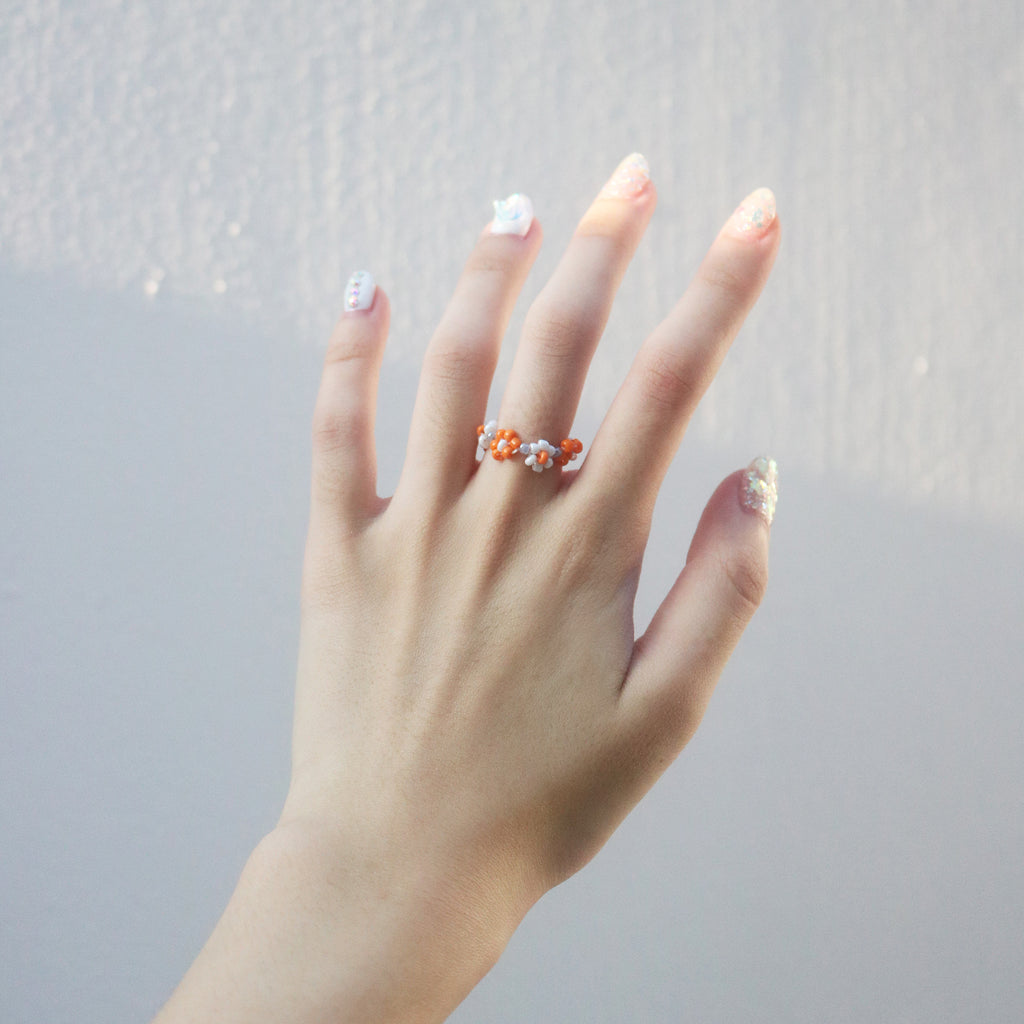 Garden Beaded Ring (White/Orange)