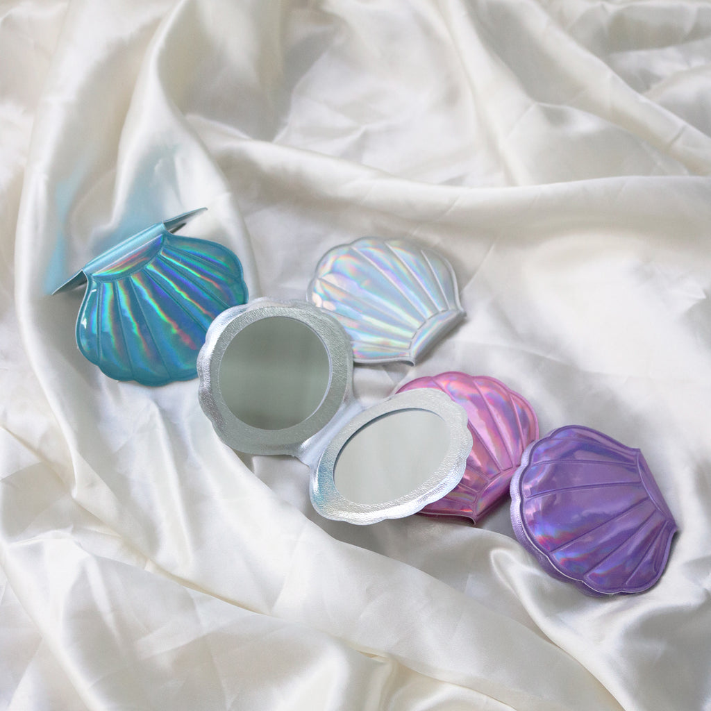 Mermaid Shell Pocket Mirror (Blue)