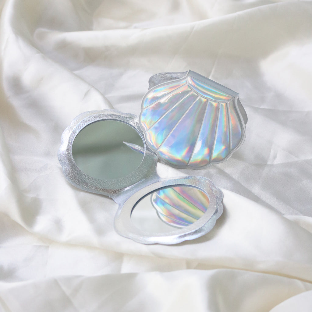 Mermaid Shell Pocket Mirror (Silver)