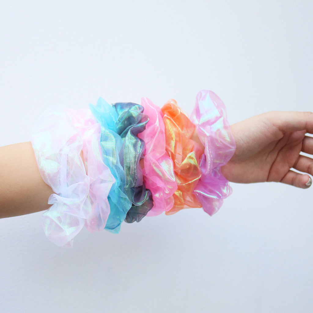 Iridescent Scrunchie in Barbie Pink