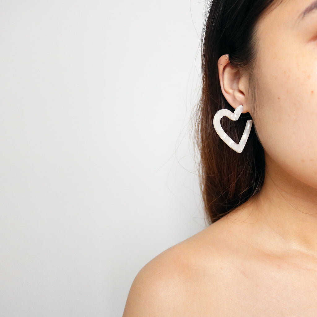 Heart Resin Hoops in Ivory