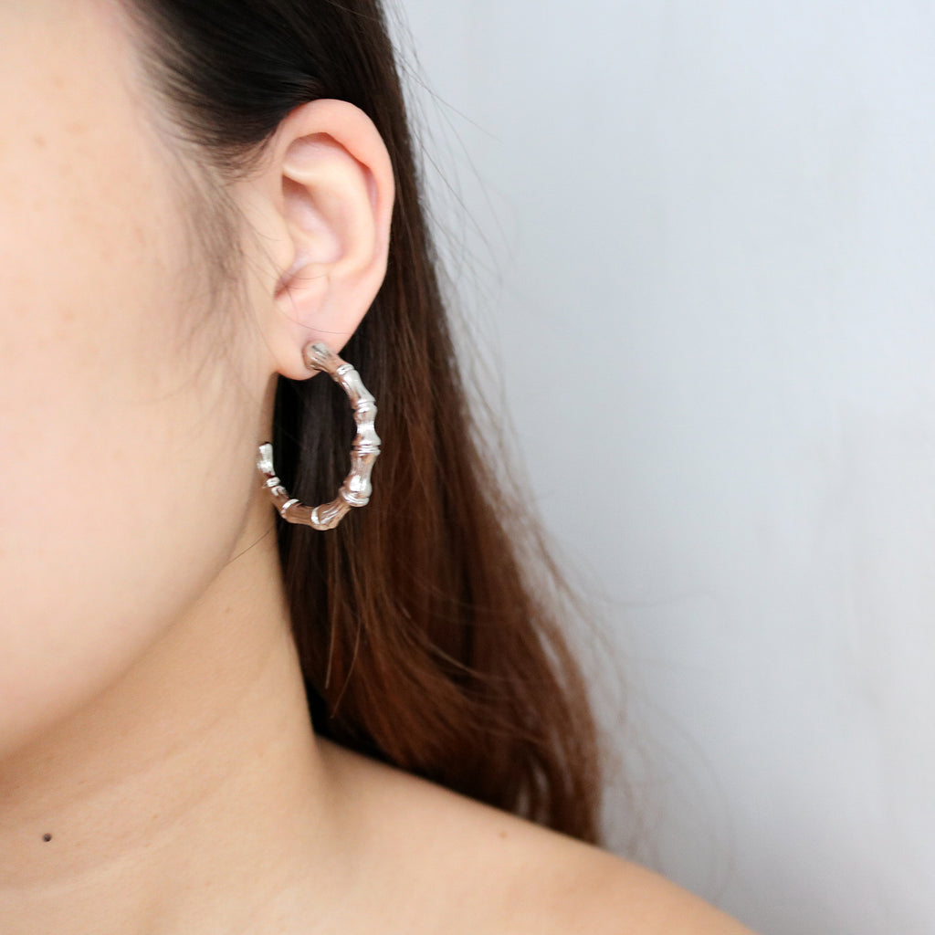 Bone Hoops in Silver