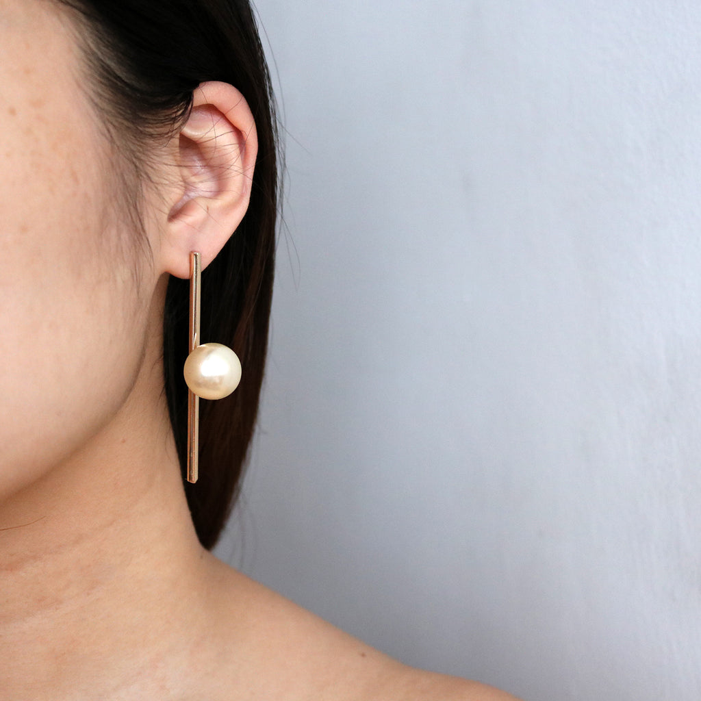 Vertical Pearl Statement Studs