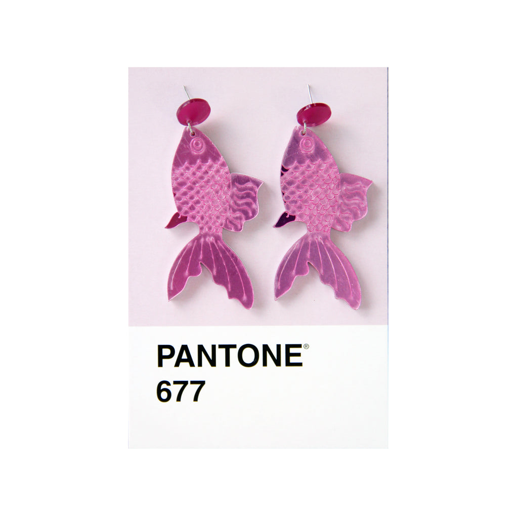 Koi Earrings in Fuchsia