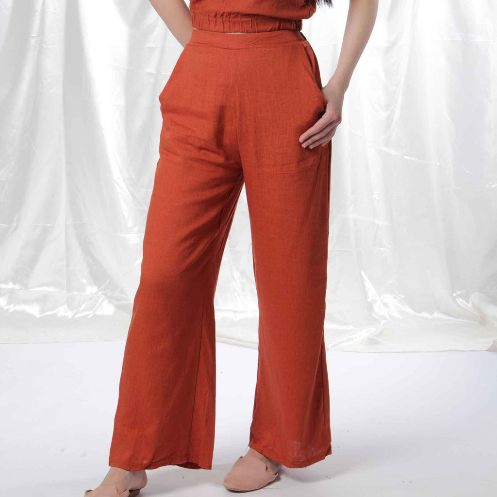 Relaxed Linen Pants in Burnt Orange