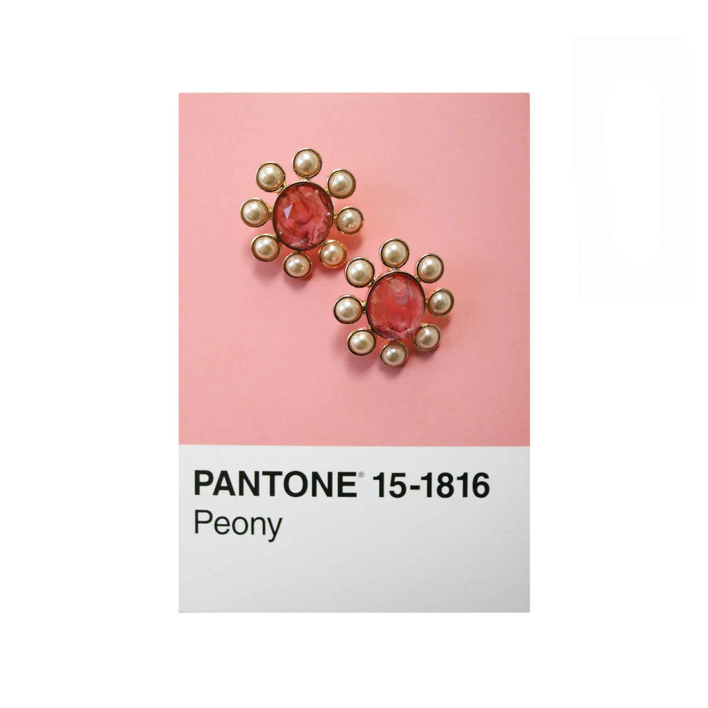 Pearly Frame Gem Studs