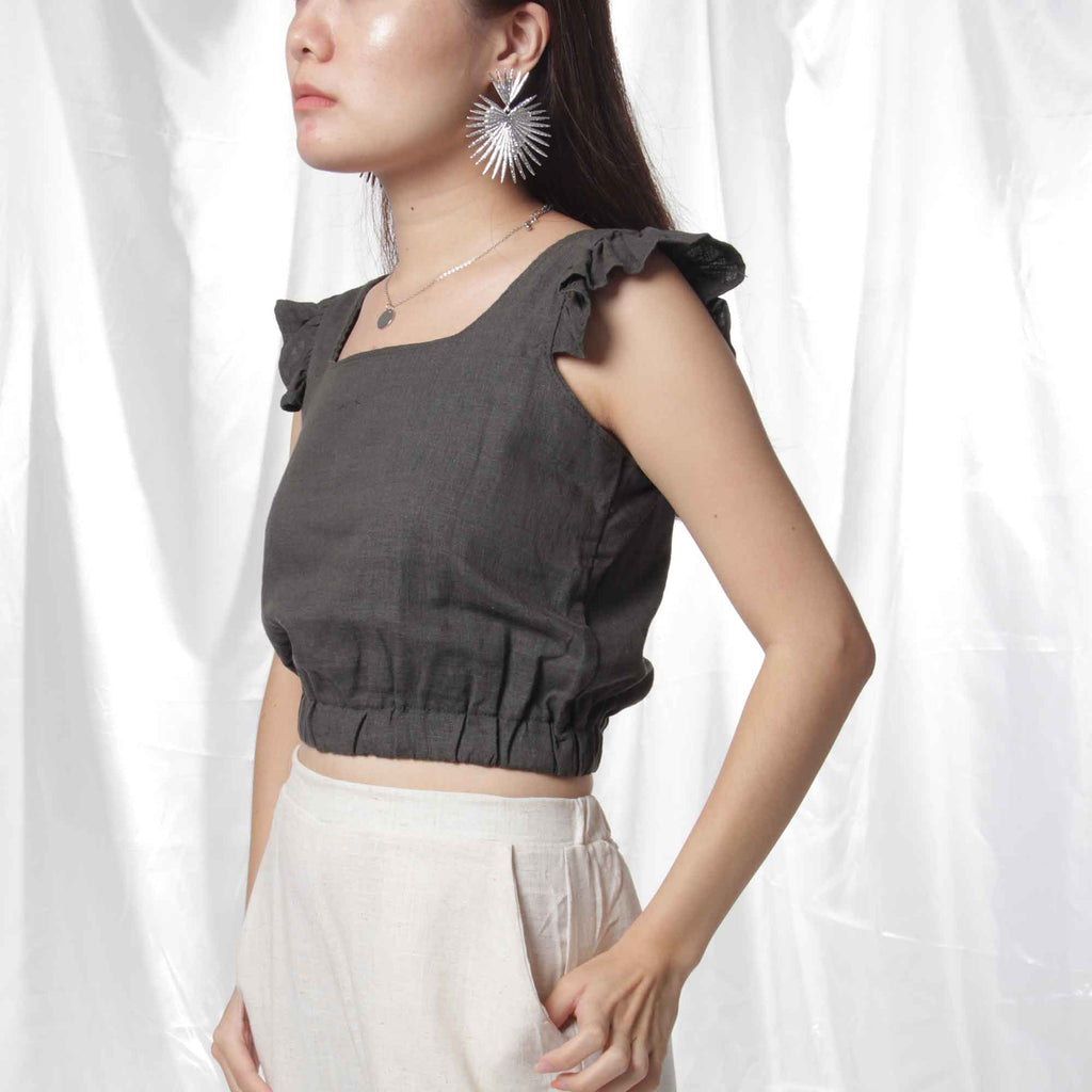 Ruffled Linen Crop Top in Grey
