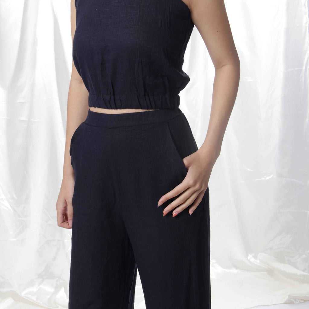 Relaxed Linen Pants in Midnight