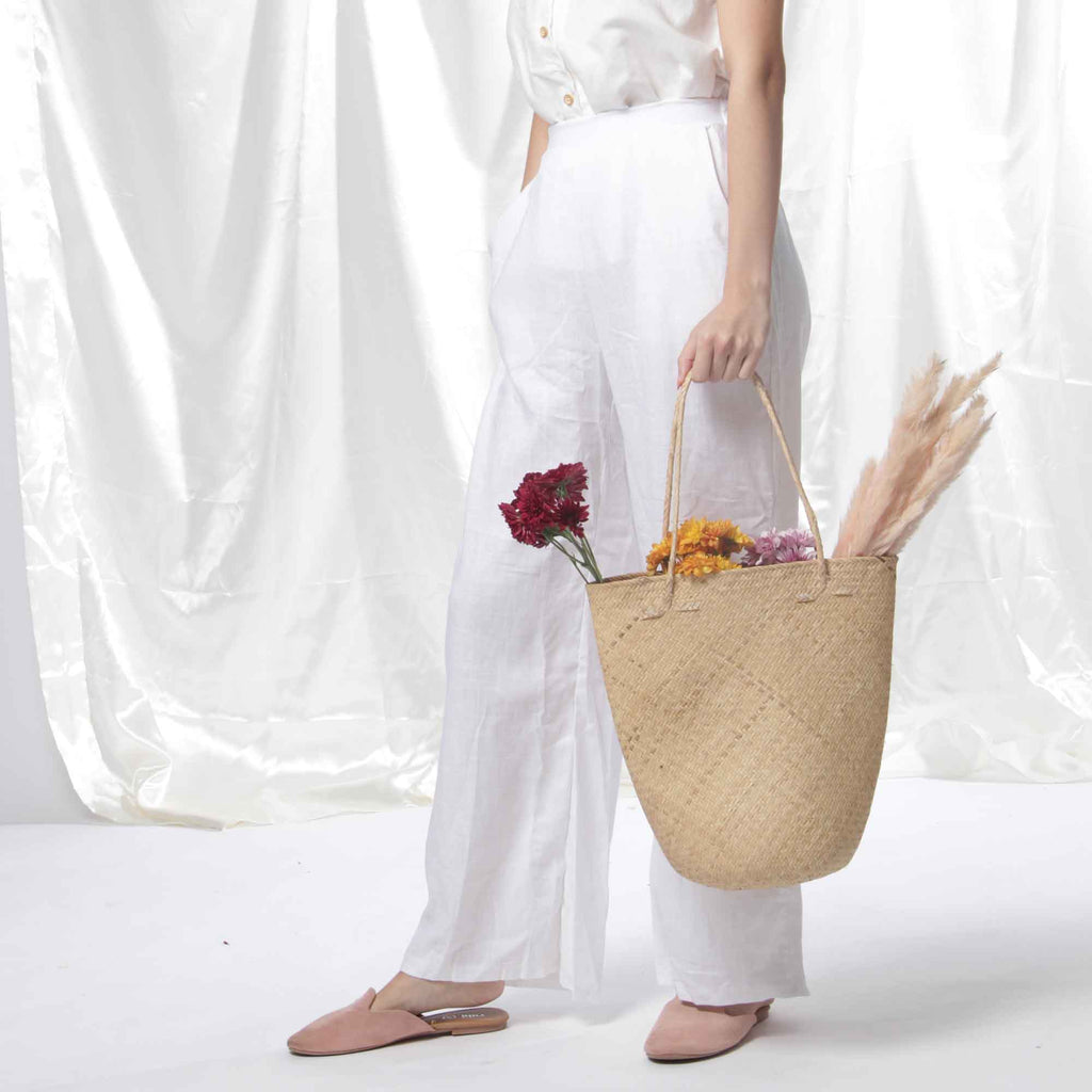 Relaxed Linen Pants in White