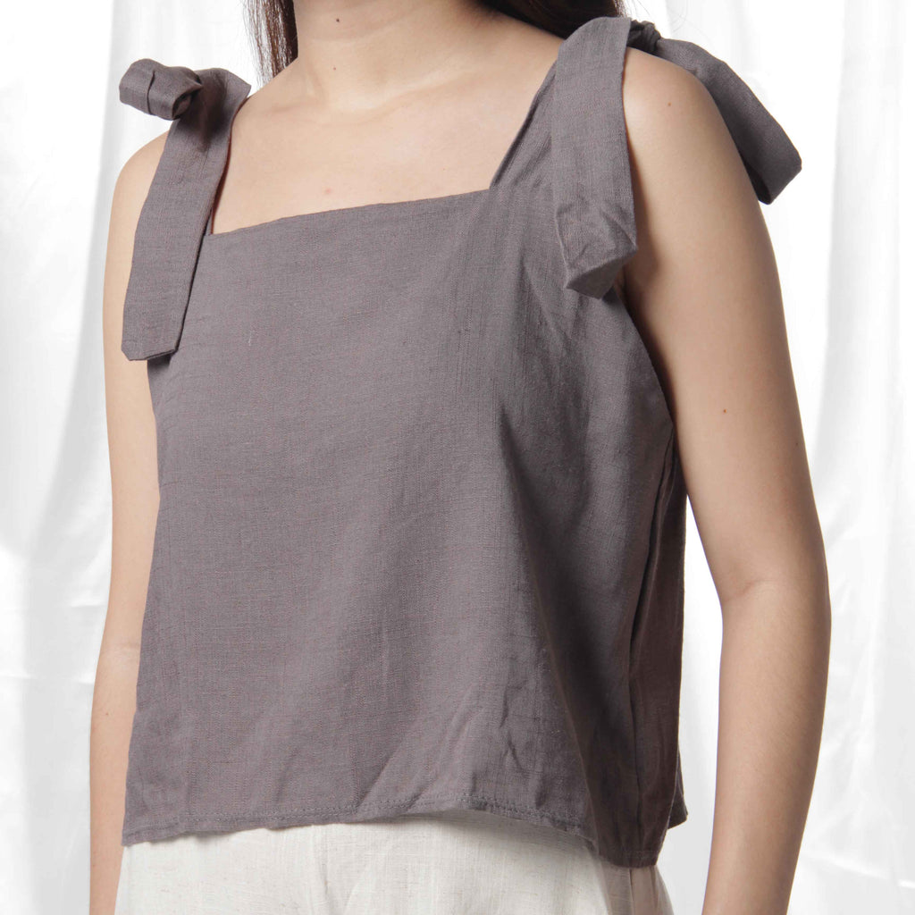 Ribbon Linen Crop Top in Grey