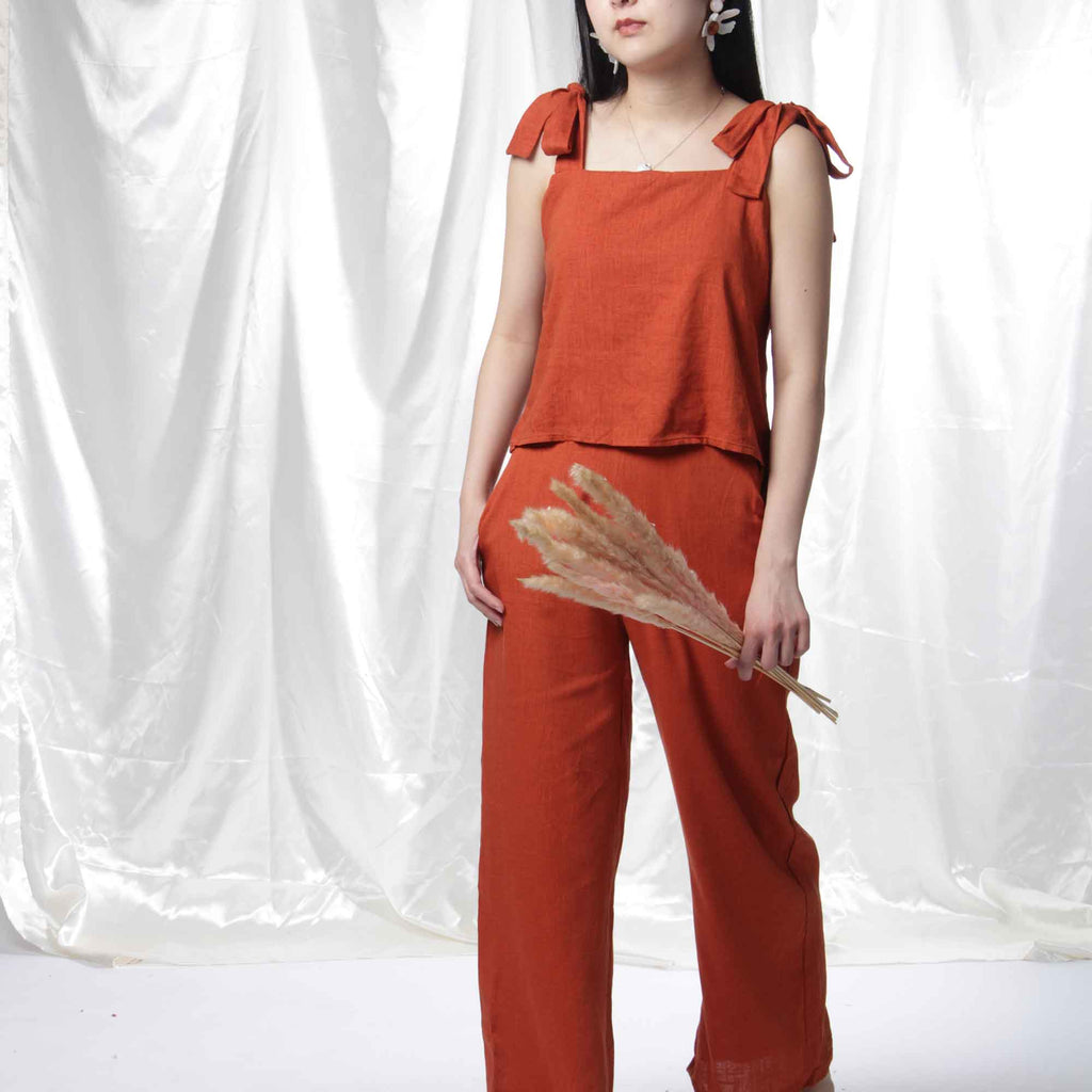Ribbon Linen Crop Top in Burnt Orange