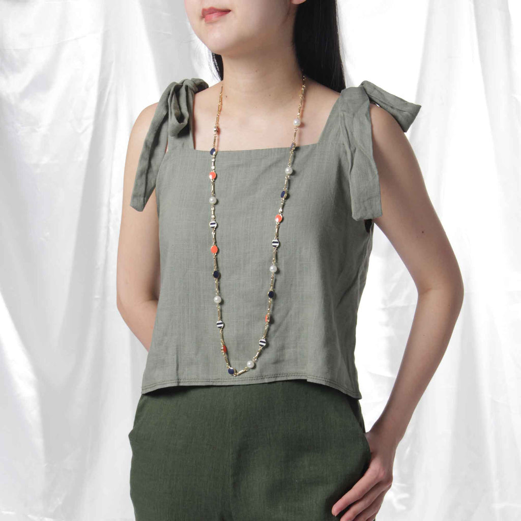 Ribbon Linen Crop Top in Sage