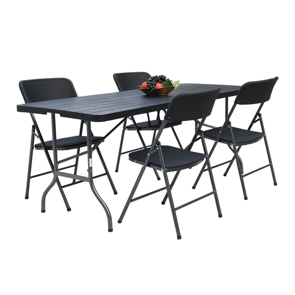 Fine Living - Folding Table & Chairs Set of 4 - Zalemart