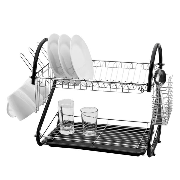 Fine Living Double Layer Dish Rack - Carbon Black - Zalemart