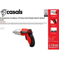Casals Screwdriver Cordless 10 Piece Set Plastic Red 6.35Hex 3.6V