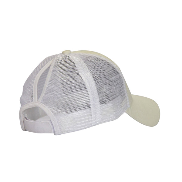 Ponytail Sports Cap - White/Silver Glitter