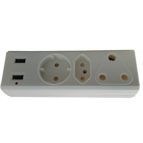Alphacell 3-Way Adaptor - 1x 16A, new 1x 5A, Shuko 5A, 2x 2.1A USB - Zalemart