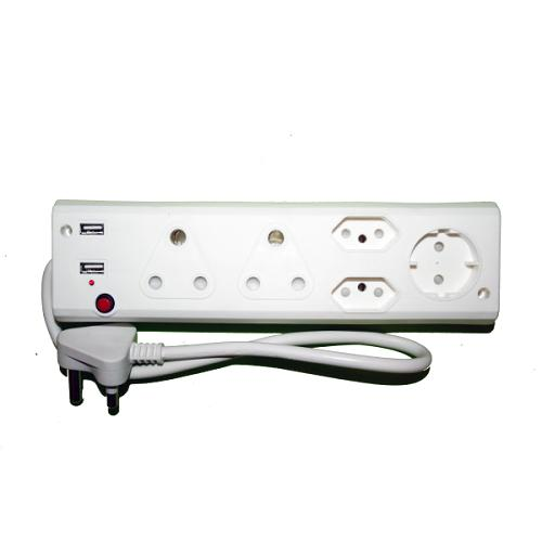 Alphacell 5 Way Multiplug - 2x16A, Schuko, 5A, 2x2 USB - Zalemart