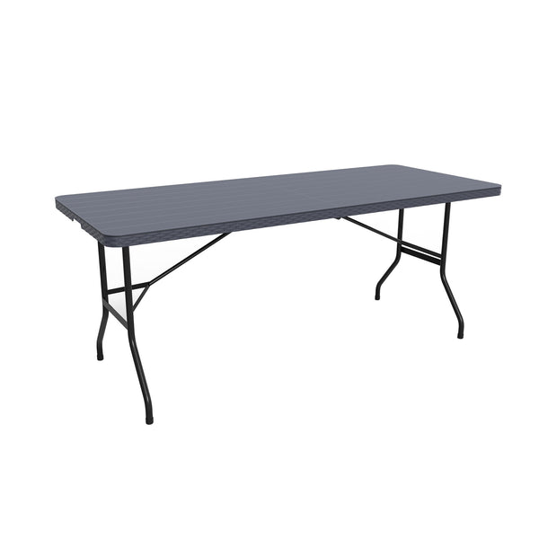 Fine Living - Folding Table 1.8m- Black Slatted Em - Zalemart