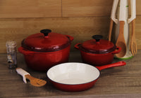 Fine Living - Lifestyle Cast Iron Set - 5pc - Red - Zalemart