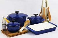 Fine Living - Lifestyle Cast Iron Set 7pc - Blue - Zalemart