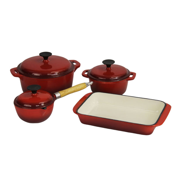 Fine Living - Lifestyle Cast Iron Set 7pc - Red - Zalemart