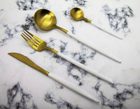 Finery - Cutlery Set 12pc - Gold/White - Zalemart