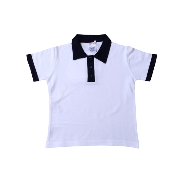 Buy-Golf Shirt Plain - White/Navy-Age 4-5-Online-in South Africa-on Zalemart