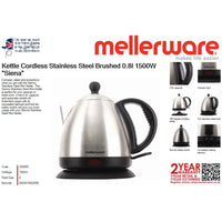 "Buy-Mellerware Kettle Cordless Stainless Steel Brushed 0.8l 1500W ""Siena""-Online-in South Africa-on Zalemart"