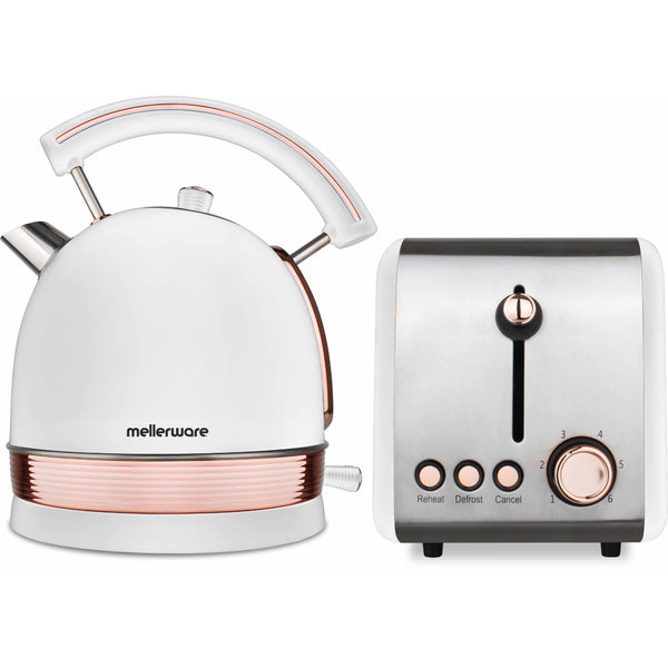 "Buy-Mellerware Pack 2 Piece Set Stainless Steel White Kettle And Toaster ""Rose Gold""-Online-in South Africa-on Zalemart"