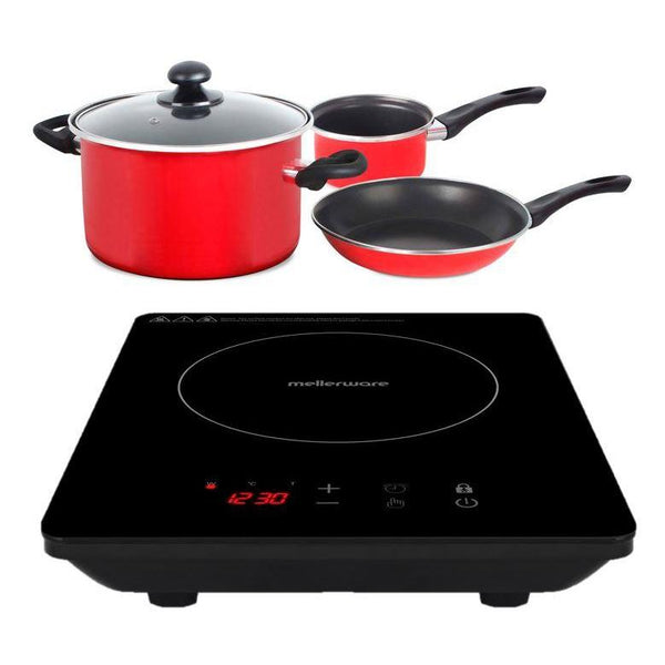 "Buy-Mellerware Pack | 5 Piece Black Induction Cooker And Pot Set 1800W ""Capri""-Online-in South Africa-on Zalemart"