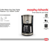"Buy-Morphy Richards Coffee Maker Drip Filter Digital Platinum 1.2L 1000W ""Evoke""-Online-in South Africa-on Zalemart"