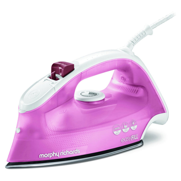 "Buy-Morphy Richards Iron Steam / Dry / Spray Stainless Steel Pink 350ml 2400W ""Easy Fill""-Online-in South Africa-on Zalemart"