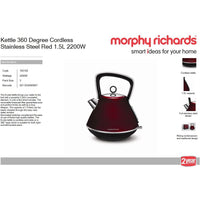 "Buy-Morphy Richards Kettle 360 Degree Cordless Stainless Steel Red 1.5L 2200W ""Evoke""-Online-in South Africa-on Zalemart"