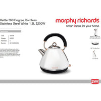 "Buy-Morphy Richards Kettle 360 Degree Cordless Stainless Steel White 1.5L 2200W ""Accent Rose Gold""-Online-in South Africa-on Zalemart"