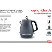 "Buy-Morphy Richards Kettle Jug 360 Degree Cordless Stainless Steel Blue 1.5L 3000W ""Evoke""-Online-in South Africa-on Zalemart"