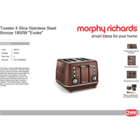 "Buy-Morphy Richards Toaster 4 Slice Stainless Steel Bronze 1800W ""Evoke""-Online-in South Africa-on Zalemart"