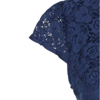 Navy blue lace dress - Zalemart