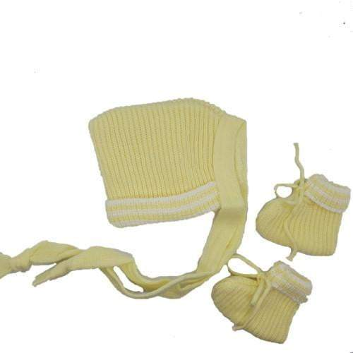 Newborn Baby Bonnet & Bootie Set - Assorted Colours - Zalemart