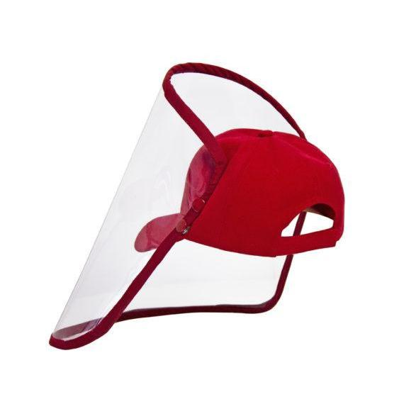 Red Kiddies Cap with Visor / Face Shield - Zalemart