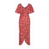Red Nursing Friendly Wrap Dress - Zalemart