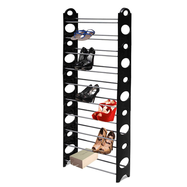 Shoe Rack 10 Tier - Black - Zalemart