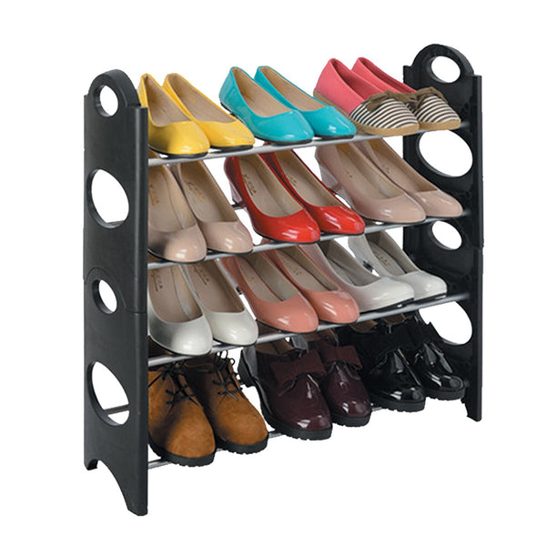 Shoe Rack - 4 Tier Black - Zalemart