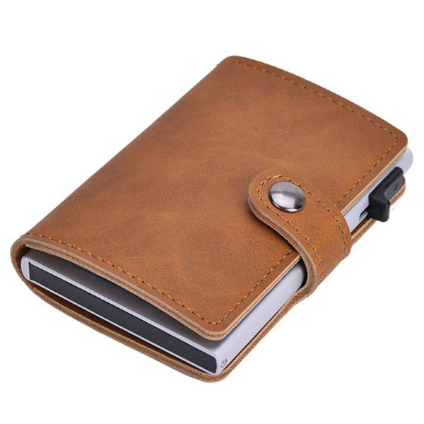 Slim Pop-Up Clip Leather Card Wallet (Brown) - Zalemart