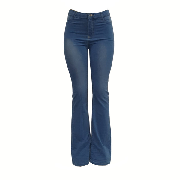 Buy-Women's High Rise Flare Jeans | Stretch Denim | Blue-Small-Online-in South Africa-on Zalemart