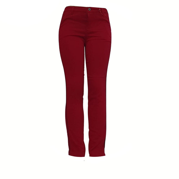 Buy-Women's Medium Rise Slim Fit Pants | Cotton | Red-Online-in South Africa-on Zalemart