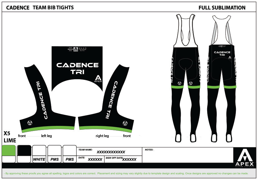 CADENCE TEAM BIB TIGHTS -WITH PAD